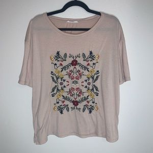 Les Amis Light Pink Shirt with Floral Embroidery